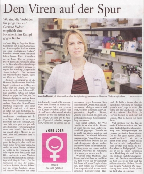 "An article (in German) in the article series ""Vorbilder – Frauen, die uns gefallen"" about Angelika Riemer and her work at DKFZ."