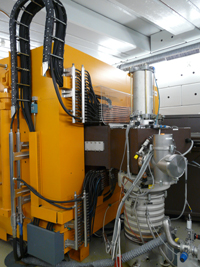 Negative ion 32 MeV cyclotron MC32NI at DKFZ for the production of radionuclides.